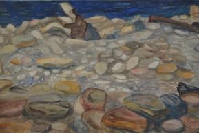 Каменистый берег. Бумага, акварель, гуашь