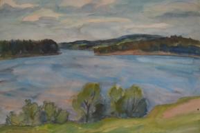 Пейзаж перед домом П.И.Чайковского Бумага, акварель