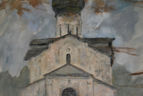 Старый собор.  Бумага, акварель, гуашь