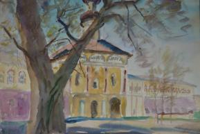 Часовня в Кирилло-Белозерском монастыре Бумага, акварель