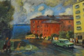 Городская улица, пастель (1970-80-е гг..)