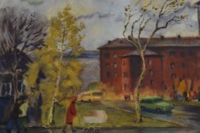 Красный дом, акварель (1984 г.)