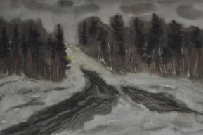 Распутица, акварель (1975 г.)